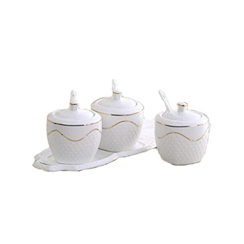 XZJJZ Set of 3 Porcelain Condiment Jar Spice Container with Lids, Ceramic tray - Best Pottery Cruet Pot for Your Home, Kitchen, Counter