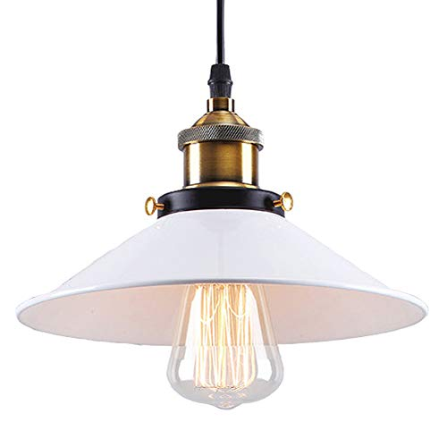 Modern Métal Suspension Lampes de Plafond Abat-Jour, E27 Industrielle Luminaires Blanc Lustre éclairage Design,Blanc (26cm)