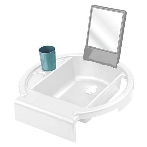 Rotho Babydesign Kinderwaschbecken Kiddy Wash, Zum Anbringen am Badewannenrand, 38,7 x 38,2 x 10 cm, Weiß, 20034 0314 01