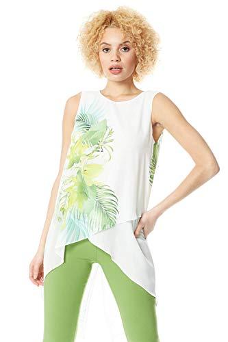 Roman Originals Camiseta de tirantes asimétrica para mujer con estampado de flores, estilo informal, para uso diario, primavera, verano, vacaciones, crucero, flores verde 42