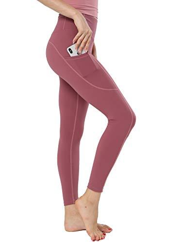 FLYILY High Waist Tummy Control Leggings Bedruckte Yogahose für Frauen mit Taschen Running Soport Fitness Leggings für Frauen Slim Fit Sporthose(RedBean,M)