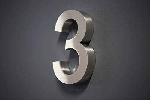 Lüllmann Hausnummer Premium Edelstahl in 3D Design Arial ALLE Zahlen H20cmxT3cm V2A TOP (Arial 20cmx3cm Nr.3)