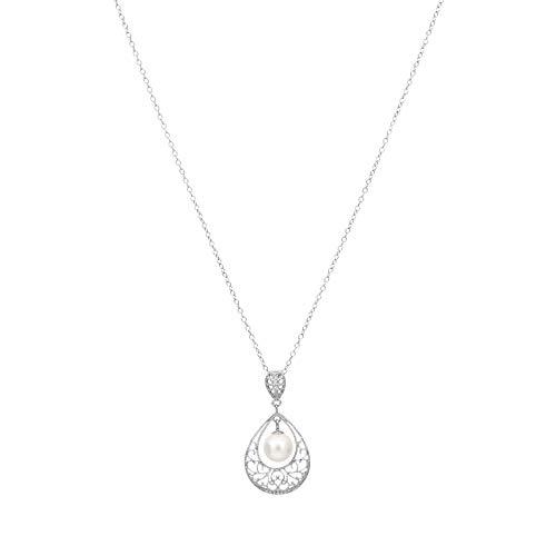Hazitter 925 plata de ley con collar de perlas de agua dulce para las mujeres