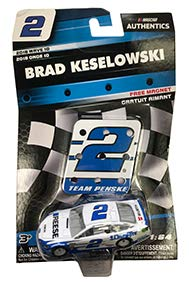NASCAR Authentics Brad Keselowski #2 Diecast Car 1/64 Scale - 2018 Wave 10 with Pit Sign Magnet - Collectible