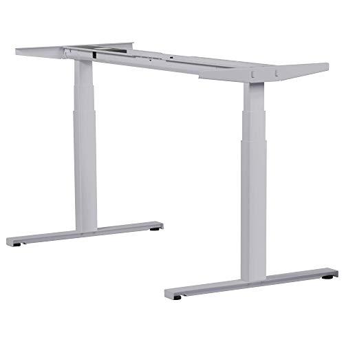 boho office® EASYDESK Line elektrisch stufenlos höhenverstellbarer Schreibtisch in Silber mit gratis APP-Steuerung, hochsensiblen Kollisionsschutz und Soft-Start/Stop
