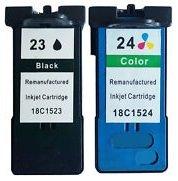 2 Druckerpatronen für Lexmark X3430, X3500, X3530, X3550, X4500, X4530, X4550, Z1400, Z1410, Z1420, Z1450 | kompatibel zu Lexmark 23 & 24