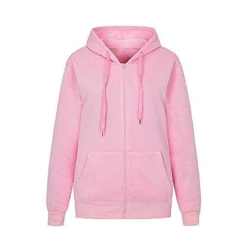 N\P Sudadera con capucha para mujer de otoño, de manga larga, con cremallera, estilo informal, con bolsillo Rosa. XXL