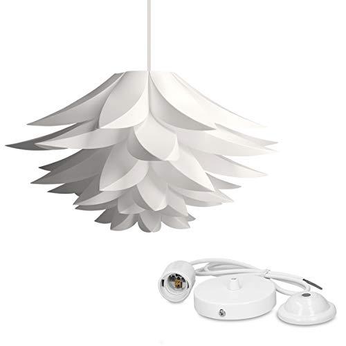 kwmobile Lampadario DIY puzzle fiore di loto - Paralume per lampada a sospensione - con set fissaggio al soffitto portalampada E27 cavo 90cm - bianco
