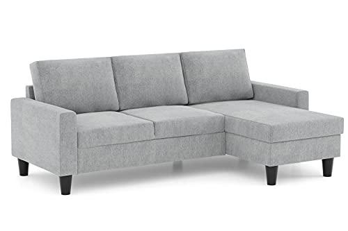 Confort24 Fox Sofá de Salon 3 plazas Chaise Longue Esquinero Rebersible Izquierda o Derecha Tapizado Tela (Gris Claro)