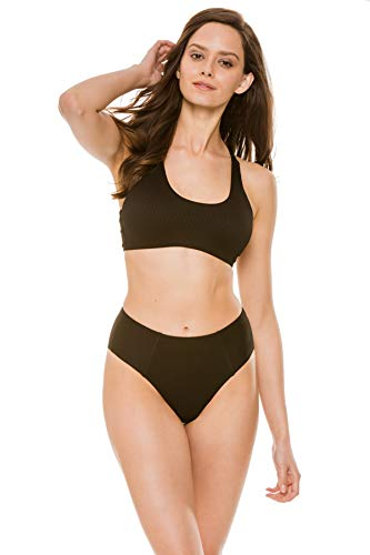 EBW Women's Collection Ribbed Scoop Neck Racerback Bikini Top Black S