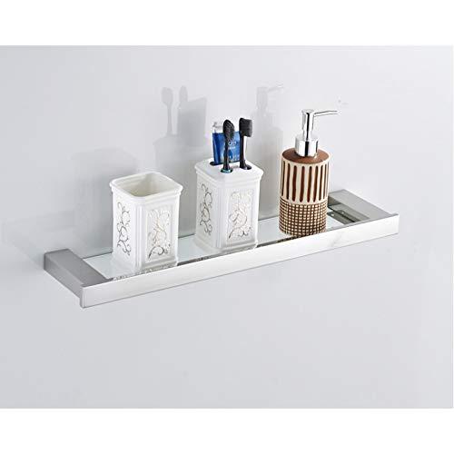 CGLOVEWYL Estante de baño con Acabado Cromado, Estante de baño de Acero Inoxidable 304, Estante de Vidrio, Soporte para tocador de Mesa de Inodoro