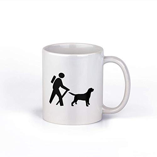 N\A Senderismo con Perro Taza de café de cerámica Taza de café de Excursionista Taza de café de 11 onzas M161