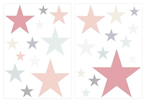 dekodino® Pegatina de pared estrellas color pastel colores suaves 25 piezas