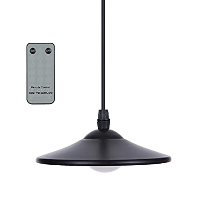 Lixada Solar Pendant Light - 3W Outdoor Hanging Solar Powered 4 LED Shed Lights 250lm Waterproof Pendant Lamp with Remote Control & Pull Cord for Garden Yard Patio Balcony Home Landscape