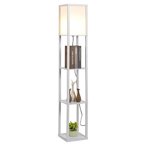 HOMCOM Stehleuchte Stehlampe mit 3 Regalen Innenbeleuchtung E27 bis 40W für Wohn-/Schlafzimmer E1-MDF, Acryl Weiß 26 x 26 x 160 cm