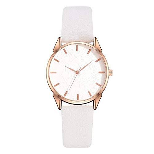 JZDH Women Watches Elegant Women Blue Dress Watches Fashion Ladies Bracelet Watch Casual Flower Dial Design Female Quartz Thin Leather Clock Ladies Girls Casual Decorative Watches (Color : White)