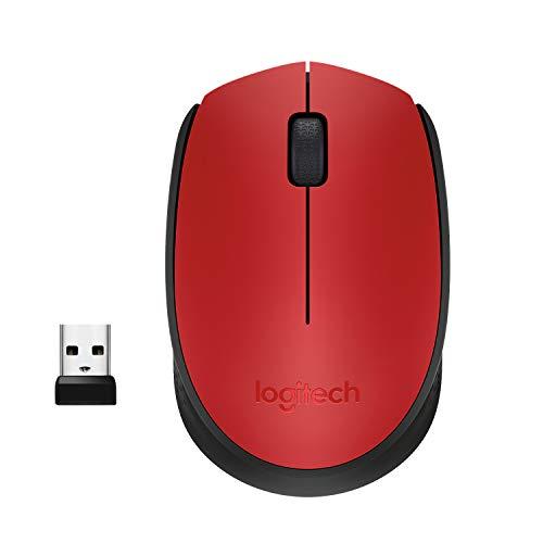 Logitech M171 Mouse Wireless, 2.4 GHz con Mini Ricevitore USB, Rilevamento Ottico, Durata Batteria Fino a 12 Mesi, Mouse Ambidestro per PC Mac Laptop, Rosso