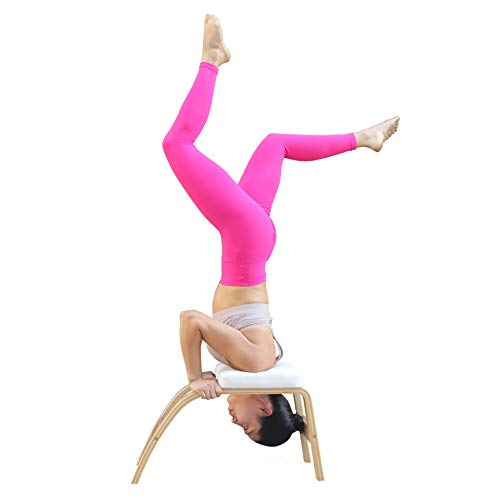 THUNDESK Yoga Inversion Chair Headstand Bench Upside Down Chair for Feet Up and Balance Training Core Strength Building Backbends Yoga Asana Practice (White)