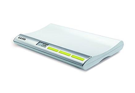 Laica PS3001 Báscula digital para pesar bebés, hasta 20 kg, color plata/blanco, con función bloqueo y tara