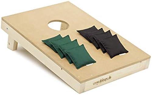 doloops Original Cornhole Spielset - EIN Cornhole Board und 8 Cornhole Bags (je 4 Schwarz und 4 Größe Cornhole Bags), original Deutscher Cornhole Verband Turnierausstattung