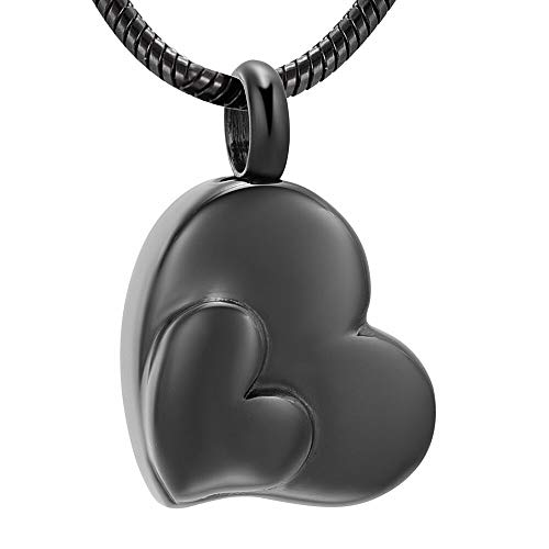 TIANZXS Blank Double Heart Cremation Pendant Stainless Steel Keepsake Necklace Ashes Urn Memorial Women Jewelry 2
