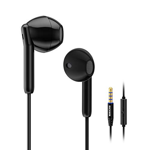 BACKWIN Earbuds Wired Earphones in-Ear Headphones Heavy Bass Earbuds,Compatible withFits Most 3.5mm Jack,Easy Operation Button (Black)