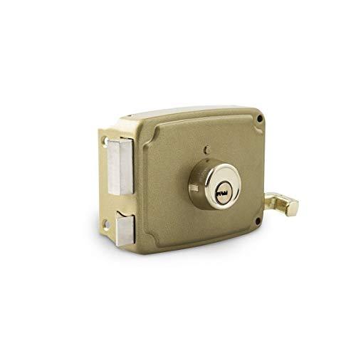 Cerradura sobreponer dorada 120mm.izqda.