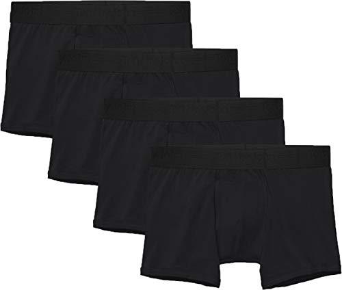 Tommy John Men's Cotton Basics Trunk - 4 Pack - Comfortable Lightweight Soft Underwear for Men (Black, Large)