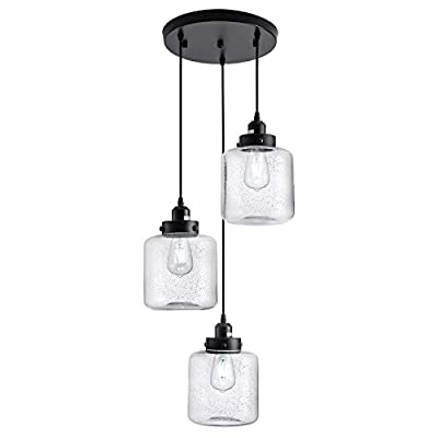 Weesalife Industrial Pendant Light with Seeded Glass Shade Black 3-Lights Cluster Pendant Lighting Adjustable Retro Style Hanging Light Fixture for Kitchen Island, Dining Room, Foyer, Farmhouse