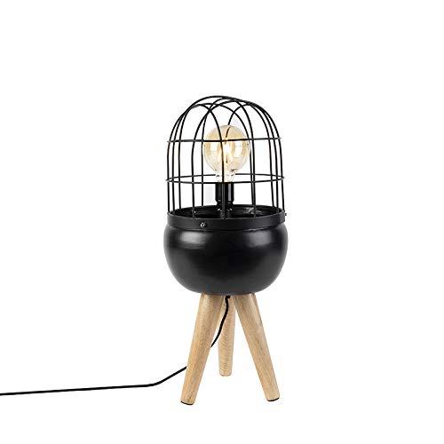 QAZQA Moderne tafellamp zwart op houten driepoot - Birds Staal/Hout Langwerpig/Bol/Rond Geschikt voor LED Max. 1 x 40 Watt
