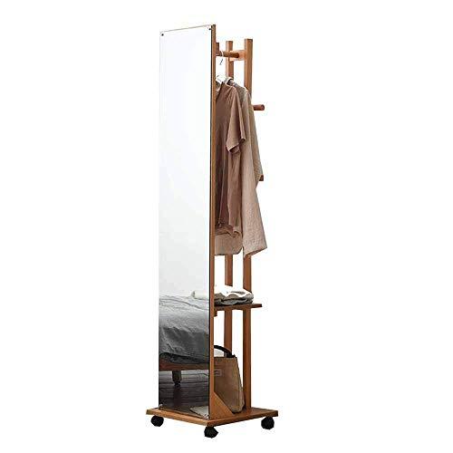 Europese retro 360 graden rotatie staande spiegel vloergarderobe hout slaapkamer woonkamer studie B A
