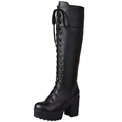 COOLCEPT Damen Stiefel Runde Zehe Palteau Flache Blockabsatz Schwarz Schuhe (36 EU, Schwarz)
