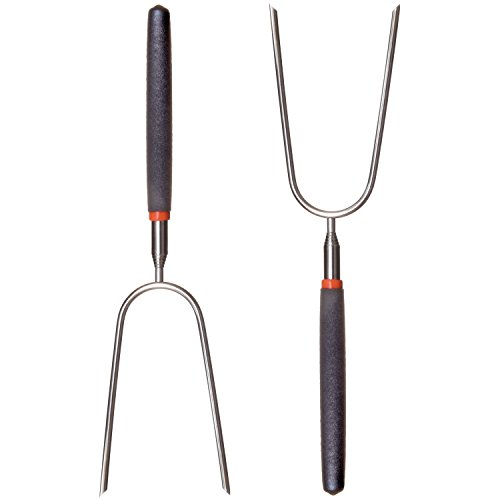 """RamPro Telescoping Stainless Steel Campfire Forks - Extend to 36"""" - Insulated Handle - (2-Pack)"""