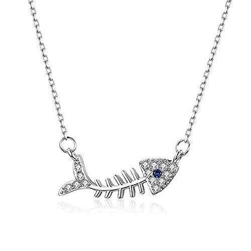 Collar con circonita de hueso de pez de plata de ley 925 con colgante de esqueleto de hueso de pez y cadena de clavícula, regalo para el día de la madre, oro blanco