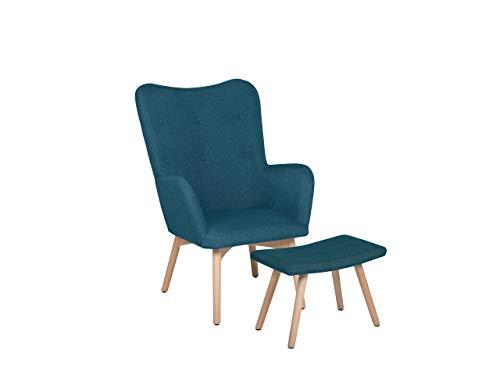 Beliani Trendy Ohrensessel mit Hocker Polyester Gummibaumholz blau Vejle II