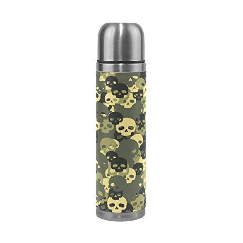 BKEOY Mug de voyage isotherme en acier inoxydable à double paroi anti-fuite Bouteille Vert Crâne Camo Imprimé Personnalisé Cuir Véritable Bouteille Thermos 500 ml