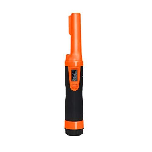 HSKB draagbare metaaldetector, metaal PinPointer IP66 waterdicht met 9V batterij met ingebouwde LED-indicator/alarmlicht/360° scan/holster voor gouden munten hond, reliëven, sieraden 28 × 4,5 × 2,2 cm oranje