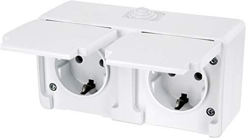 Aufputz Feuchtraum Doppel-Steckdose mit Feder-Klappdeckel IP54 - All-in-One - Rahmen + Einsatz + Abdeckung (Serie G1 reinweiß)