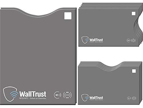 WallTrust RFID Schutzhüllen für Kreditkarten + Reisepass, TÜV geprüft, 12x