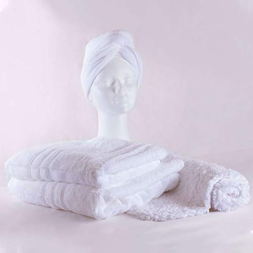 Chantarole - Juego de Toallas baño Grandes: 1 Toalla de baño + 1 Toalla Manos + 1 Toalla Pelo + 1 Alfombra baño; Toallas Blancas Algodon; Toallas Hotel (Blanco, 4)