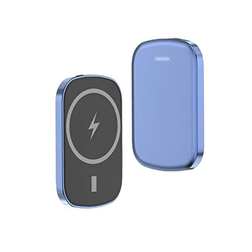 Wireless Charger Magnetic Power Bank 10000mAh for iPhone 12 12 Pro Max 12 Mini 15W Qi Fast Charging Portable External Battery Pack (Blue-10000mAh)