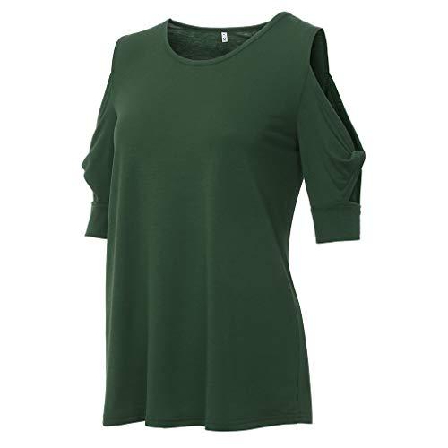 Deloito Damen Damen Beiläufig Hemd Bluse Rundhals Kurzarm Tunika Tops Trägerlos Schulterfreie Oberteile Lose einfarbig Verdrehte T-Shirt (Grün,Medium)