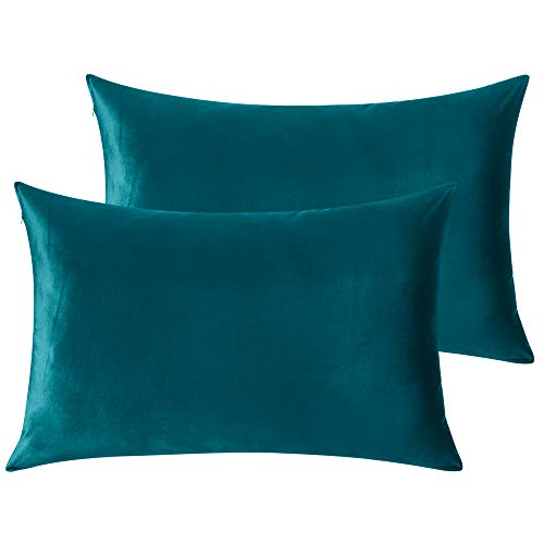StangH Bed Pillow Pillowcase Thick Soft Velvet Fabric Zippered Pillow Covers for Bed/Couch/Sofa Decorative, Queen Size (Teal, 20 x 30 inches) Pillow Cases Set of 2, Warm Cozy Pillow Protector