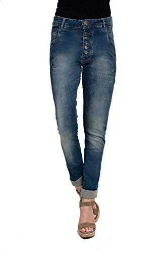 Zhrill Damen Boyfriend Jeans Tapered 5 Pocket Slim Fit Amy, Größe:W28 / L32, Farbe:W483 - Blue