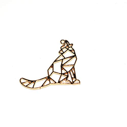 Wolf Origami, Metall, 34 x 29 mm, goldfarben, 5 Stück