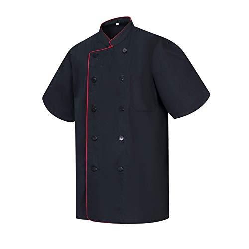 MISEMIYA - Chaquetas Chef Cocinero con BOTÓN REFORMADO MARMINTÓN SOLLASTRE GUISANDERO ADOBADOR Salsero - Ref.8421B - L, Negro