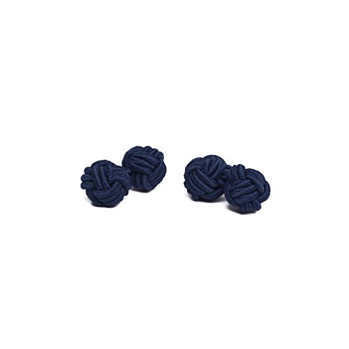 Jacob Alexander Pair of Solid Color Silk Knot Cufflinks - Navy Blue