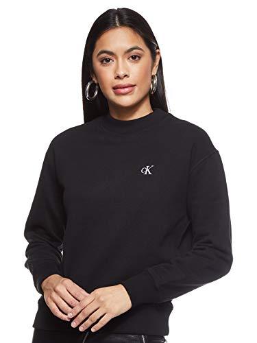 Calvin Klein Jeans Damen Ck Embroidery Regular Crew Neck Pullover, Black, M