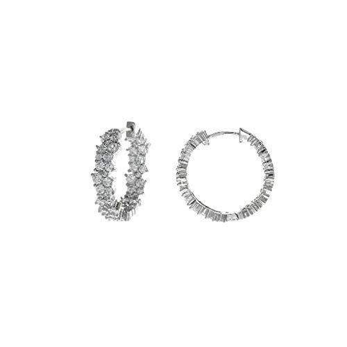 Damen-Ohrringe Rettungsring Silber Creolen Größe 5 x 21 mm Blumen