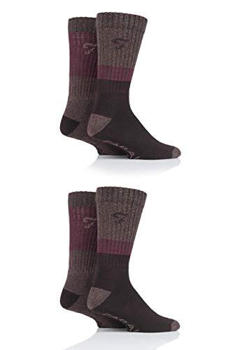 FARAH® Herren Performance Stiefel Socken Packung mit 4 Braun/Beere/Stein 39-45